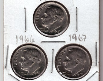 1965, 1966, 1967 Uncirculated Roosevelt Dimes