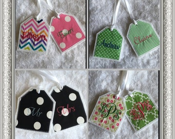 Personalized Embroidered Christmas Stocking Name Tag, Backpack Name Tag, Diaper Bag Name Tag, Fabric Embroidered Gift Tag