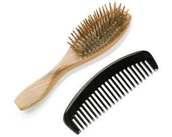 2-Count Wooden Hair Brush and Horn Comb Set: Natural Green Sandalwood Cushion Hair Brush and Anti Static Wide Tooth Buffalo Horn Comb