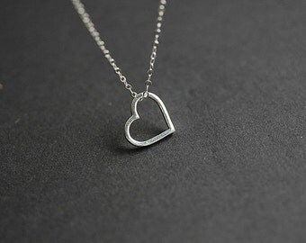 Sterling Silver Floating Heart Necklace - Silver Floating Heart necklace - Heart necklace - Delicate necklace - Minimalist necklace