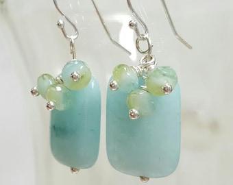 Amazonite Earrings, Sterling Silver Earrings