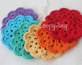6 Flower Coasters ~ Crochet Flower Coasters ~ Cotton Drinks Mats ~ Bright Colour Coasters ~ Handmade