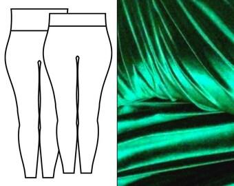 Bottle Green Velvet Leggings
