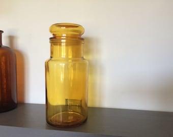 Yellow vintage apothecary jar - 1970s