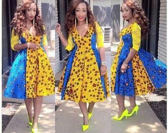 Mixed Print Shimmi Swing Dress