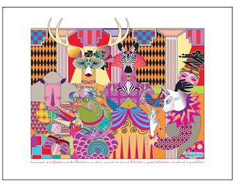 Animal Masquerade Art Print Masks of Illusion 12x16 Inspirational