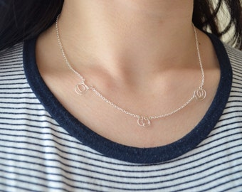 Doodle Necklace, Sterling Silver Wire and chain