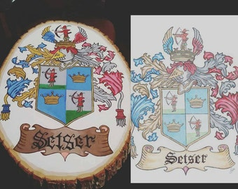Custom hand painted coat of arms/ crest