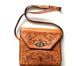 Reserved for Delena Sheldon till thursday vintage tooled tan gaitan mexican leather cross body purse