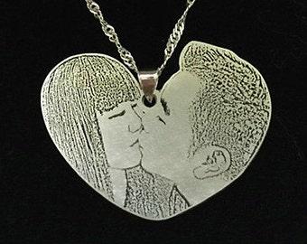 Custom Portrait, Portrait Necklace, Couples Portrait, Couple Necklace, Engraved Photo, Custom Photo Pendant, Silver Necklace, Lovers Jewelry