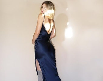 MIDNIGHT BLUE SLIP Maxi Dress | Rich Navy Blue Charmeuse Silk | So Pretty for Day or Evening Wear | Wear With Boots Sneakers or Heels