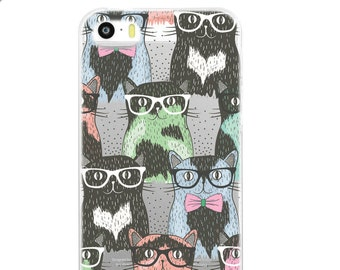 Hipster Cat Phone Case, Flexible iPhone 7 Case, iPhone 7 Plus, Cat Lover Gifts, Cat Mom, iPhone 6s Case, iPhone 6 Plus Case, Clear Case