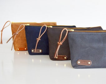 Waxed canvas utility pouch cosmetic toiletry bag clutch