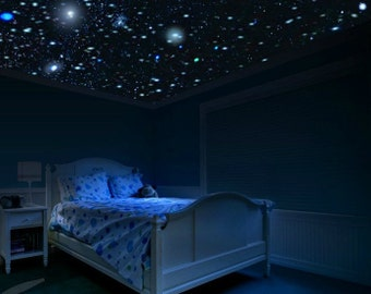 Glow Stars Ceiling Kit - DIY Ceiling Stars that Glow in the Dark for Future Astronaut or Scientist. Glowing Stars for Outer Space Bedroom