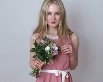BELLE - Bridesmaid Dress - Rose pink chiffon bridesmaid dress, prom style, full circle