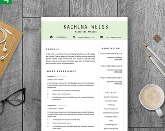 CREATIVE Resume Template instant download for Word (US Letter & A4) 1, 2 or 3 Page Resume Template, Icons, Guide | Instant Download