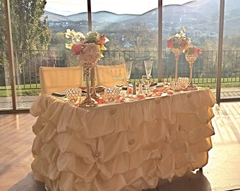Awesome Champagne Ruffled Table Cloth, Champagne Ruched Table Cloth, Ruffled  Tablecloth, Ruched Tablecloth,