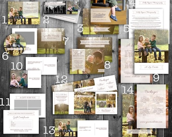 Photography Marketing Set templates, price list template, photographer contract, CD cases, pre-made marketing package, digital download,