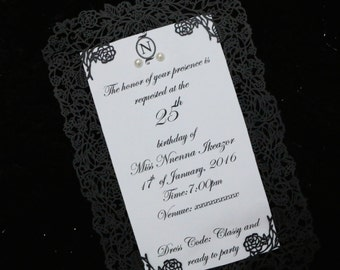 Climbing Rose Laser cut Invitations