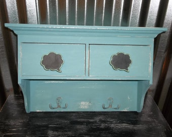 Shabby Chic Teal Shelf Wall Decor Storage Hand Painted Chalk Paint Distressed