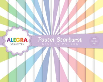 Pastel Starburst Digital Paper - Rays Scrapbook Papers - Pastel, Soft Colors, Rainbow - Instant Download - P100