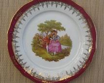 Vintage large Limoges Fragonard plate burgundy red/ white/gold colour, made in France.