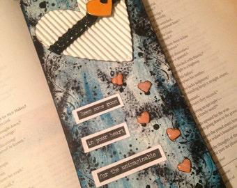 Handmade mixed media art tag gift tag bookmark