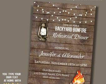 Bonfire Invitation, Printable Bonfire invite, wood and lights, rustic wood, instant download self editable PDF file A147