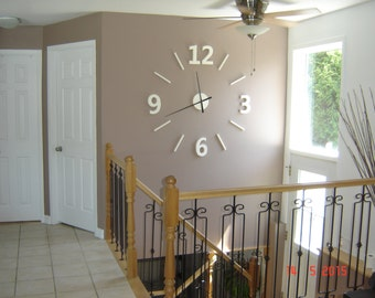 """122 cm (48 """") contemporary wall clock barn wood, huge numbers of barn wood, oversized 3d clock, unique 3d worldwide"""