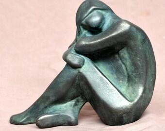 "SMALL NUJDE - Cold cast bronze sculpture, by Lluis Jorda -4.8"" ht. - 0.6 kg weight"