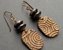 Zen Garden Circle Earrings - Artisan Bronze, Mystic Quartz, Asian, Japanese, Rustic, Boho, Neutral, OOAK, Hypoallergenic, Niobium