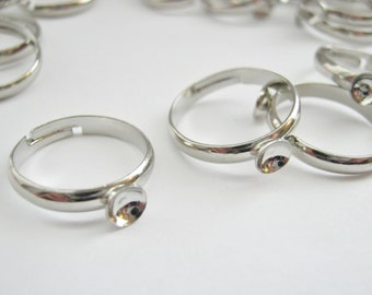 Adjustable Ring Blanks from Size 5 (J) Halfway Midi Rings, Children's Rings, Cup Settings Platinum Colour Ring Components Jewelry Findings