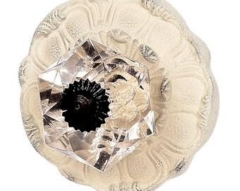 Extra Large White Lily Pad Knob/Shabby Chic Knob/Dresser Knobs/Crystal Knob/Crystal Drawer Pull/Cottage Chic/Crystal Knob Pull Handle/170008