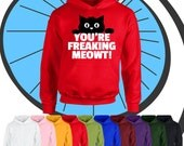 Childrens Youre Freaking Me Out Funny Hoodie  Kids Boys Girls Cat Meow Hooded Top Gift  Childs Comedy Present Gift Hood Pullover