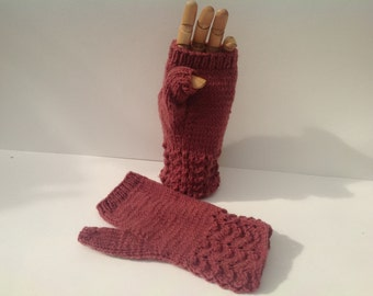 Fingerless lacy cuffed mittens , texting gloves, driving gloves ,dusky pink color thick,soft , acrylic and wool yarn