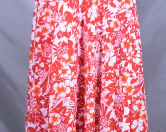 Free Shipping Made in Hawaii Red and Orange Flowered Print Dress