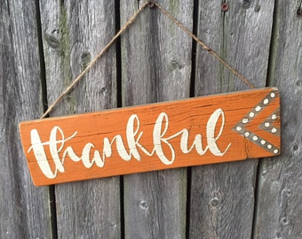 "Thankful Door Hanger 12"" x 3 1/4"""