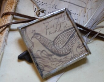 Fraktur Bird - Large Pendant