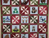 Forest Frolic or woodlands animal applique baby or child's PDF quilt pattern; crossed canoes block; owl, moose, or beaver quilt pattern