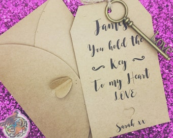 """Personalised """"Key To My Heart"""" Valentine Romantic Love Gift"""