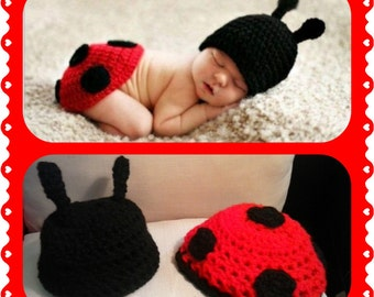 Baby Lady bug Outfit crochet photo shooting red black prop