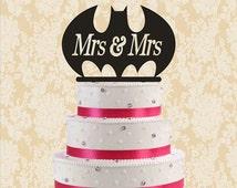 Batman wedding cake topper-mrs & mrs cake topper-funny cake topper-batman cake topper for wedding-rustic mr and mrs cake topper