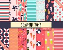 BUY 3 FOR 7 USD, Summer digital paper pack, flip flops pattern, palm trees, sunglasses, polka dots, stripes, surfboard background, download
