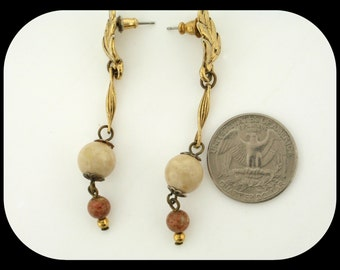 """Vintage Long Dangle White Brown Stone Gold Plated Pierced Earrings 2 1/2"""""""