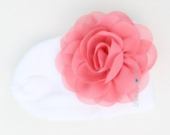 coral newborn hat, coral hospital hat, infant hat, hospital hat with flower, newborn hat with flower, coming home outfit, coral baby clothes