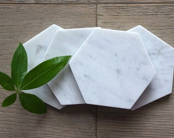 Bianco Gioia Hexagon Marble Coasters. Polished. Set of 2. Set of 4. Set of 6