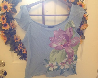 Blue Fang Tank Top with flowers