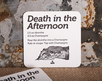 Death in the Afternoon · Set of 8 · Letterpress Coasters · Black Ink