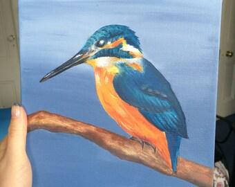 Original Kingfisher Painting Acrylic 8 x 8 inches