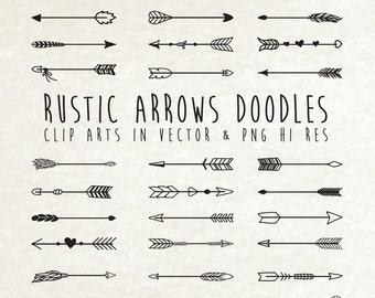 Hand Drawn Arrow Clipart, Arrow Doodle Clipart, Rustic Arrow Clipart Clip Art PNG & Vector EPS, AI Design Elements Digital Instant Download